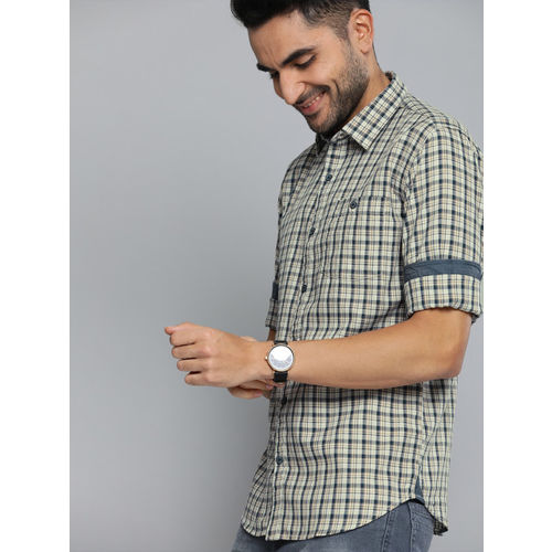 The Humbl Co. Men Beige & Navy Blue Slim Fit Checked Casual Shirt