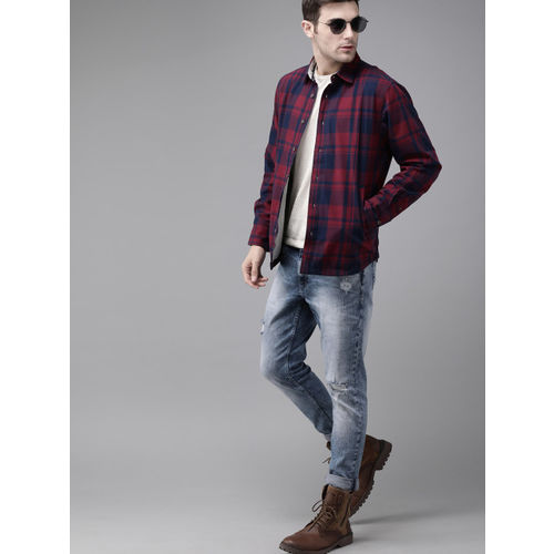 Roadster Men Maroon & Navy Blue Checked Tailored Flannel Shacket