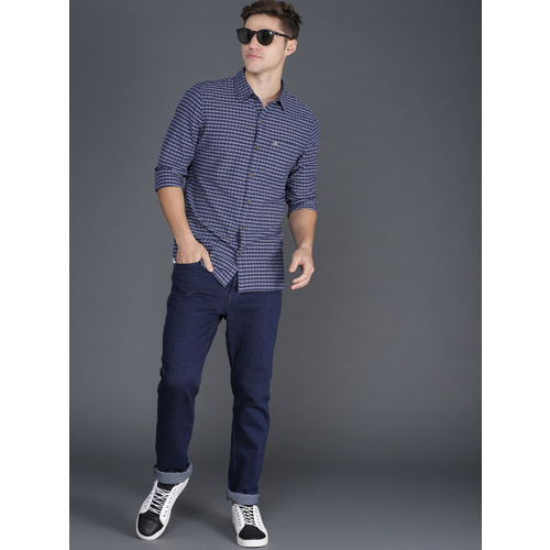 WROGN Men Navy Blue & Grey Slim Fit Checked Casual Shirt