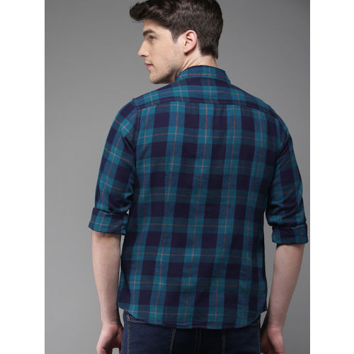 HERE&NOW Men Teal Blue Slim Fit Checked Casual Shirt