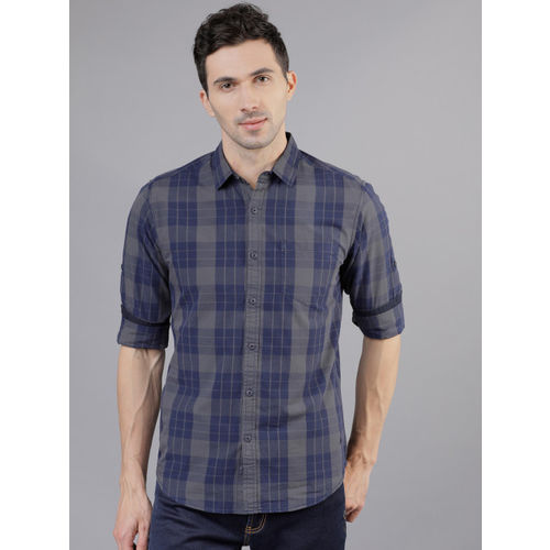 LOCOMOTIVE Men Navy Blue & Grey Slim Fit Checked Casual Shirt