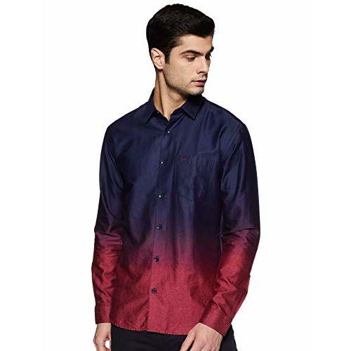 Park Avenue Dark Red Cotton Blend Slim Fit Shirt
