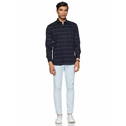 Peter England Men's Checkered Slim fit Casual Shirt