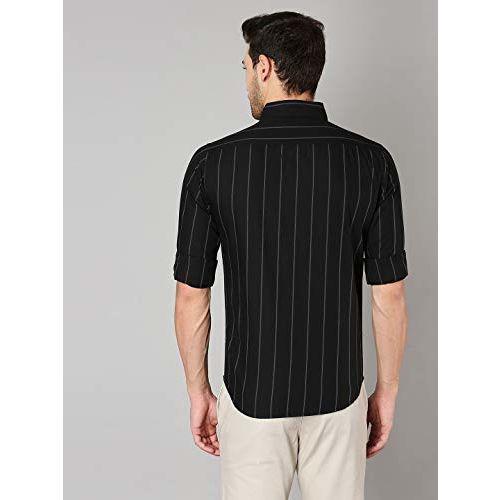 Dennis Lingo Men's Striped Black Slim Fit Cotton Casual Shirt