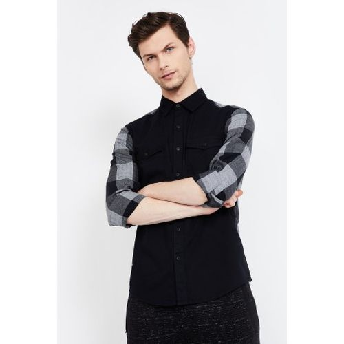 FORCA Solid Slim Fit Casual Shirt with Checked Sleeves