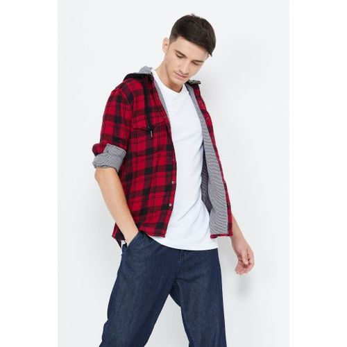 FORCA Checked Full Sleeves Hooded Shirt
