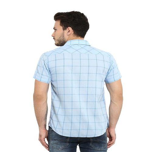 Mufti Sky Blue Half Sleeves Cotton Shirt