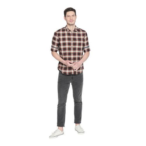 Basics Brown & Grey Slim Fit Checks Shirt