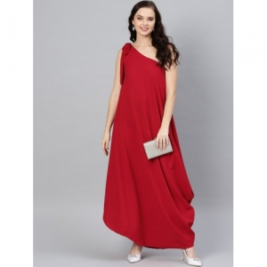 Inddus Women Red Solid One Shoulder Maxi Dress