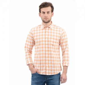 Indian Terrain Men Peach-Coloured & Off-White Oxford Slim Fit Checked Smart Casual Shirt