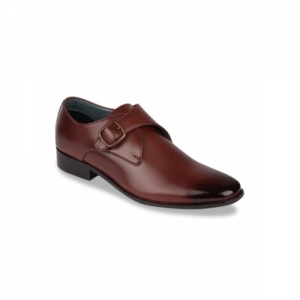 Franco Leone Tan Brown Synthetic  Solid Formal Monk Shoes