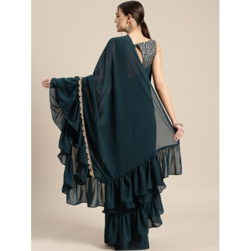 Inddus Teal Blue Solid Ruffle Saree