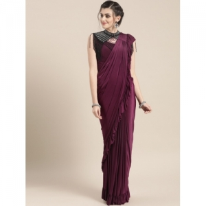 Chhabra 555 Purple Solid Ready to Wear Saree