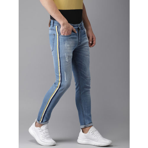 Campus Sutra Men Blue Slim Fit Mid-Rise Mildly Distressed Stretchable Jeans