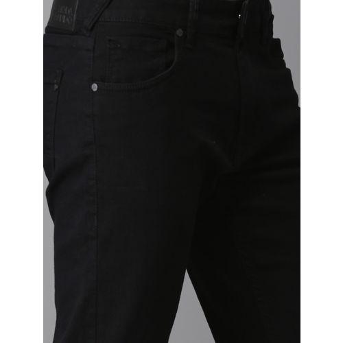 Moda Rapido Men Black Slim Fit Cropped Mid-Rise Slash Knee Stretchable Jeans
