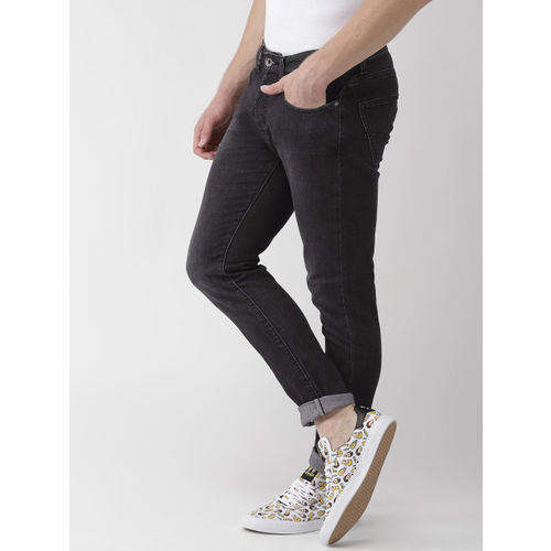 GAS Men Charcoal Grey Carrot Fit Mid-Rise Clean Look Stretchable Jeans