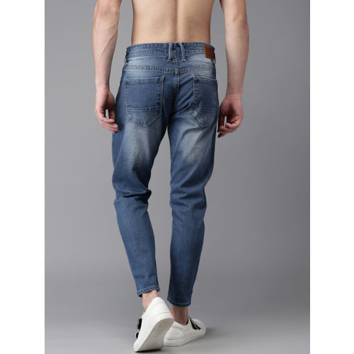 HERE&NOW Men Blue Slim Fit Cropped Mid-Rise Clean Look Stretchable Jeans