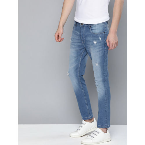 Mast & Harbour Men Blue Skinny Fit Mid-Rise Low Distress Stretchable Jeans
