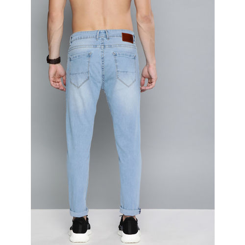 HERE&NOW Men Blue Ankle Slim Tapered Fit Mid-Rise Highly Distressed Stretchable Jeans