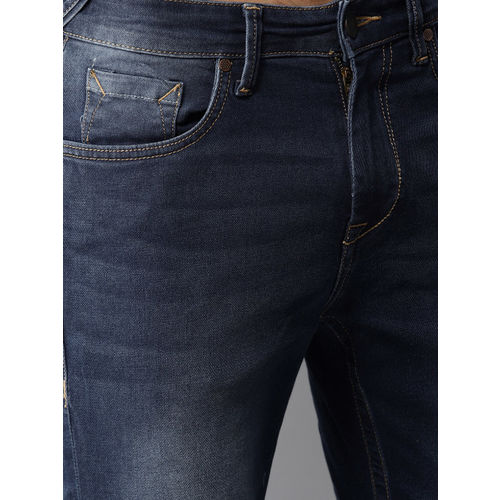 Moda Rapido Men Blue Slim Tapered Fit Clean Look Cropped Stretchable Jeans