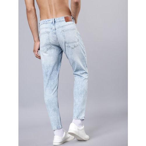 HIGHLANDER Men Blue Tapered Fit Mid-Rise Mildly Distressed Stretchable Jeans