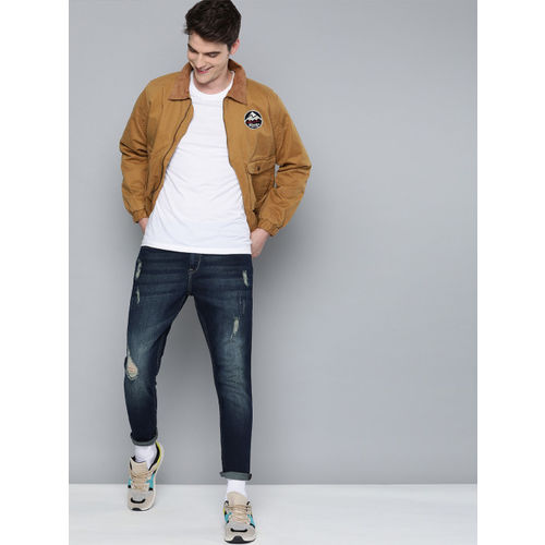 HERE&NOW Men Blue Slim Tapered Fit Mid-Rise Mildly Distressed Stretchable Jeans