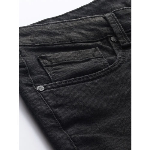 Moda Rapido Men Black Slim Fit Mid-Rise Clean Look Stretchable Jeans