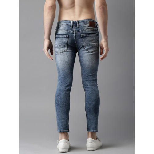 HERE&NOW Men Ankle Length Mid-Rise Skinny Fit Blue Mildly Distressed Stretchable Jeans