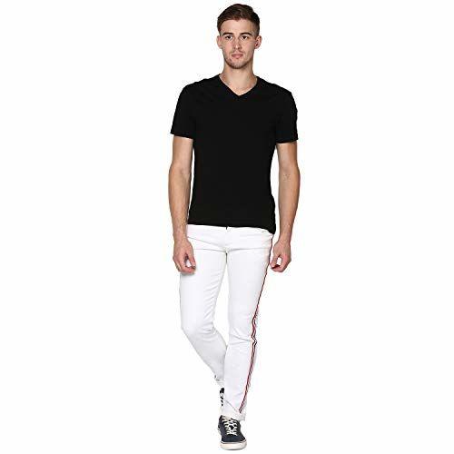Urbano Fashion Men's White Side Striped Slim Fit Jeans Stretch