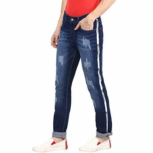 Urbano Fashion Men's Blue Side Striped Distressed Slim Fit Jeans Stretchable