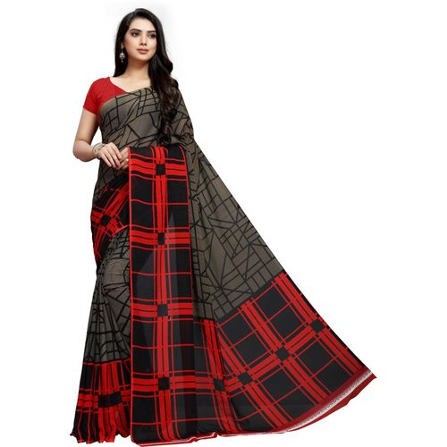 Vaamsi Printed, Checkered Daily Wear Georgette Saree(Grey)