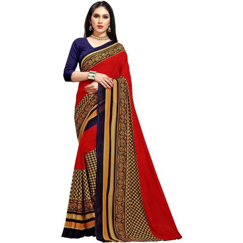 Kashvi Sarees Striped, Floral Print, Checkered Daily Wear Georgette Saree(Red)