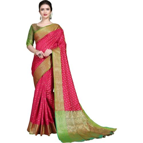 Rola Trendz Self Design, Embroidered, Woven, Embellished Kanjivaram Silk Blend, Jacquard, Art Silk, Cotton Silk Saree(Pink)