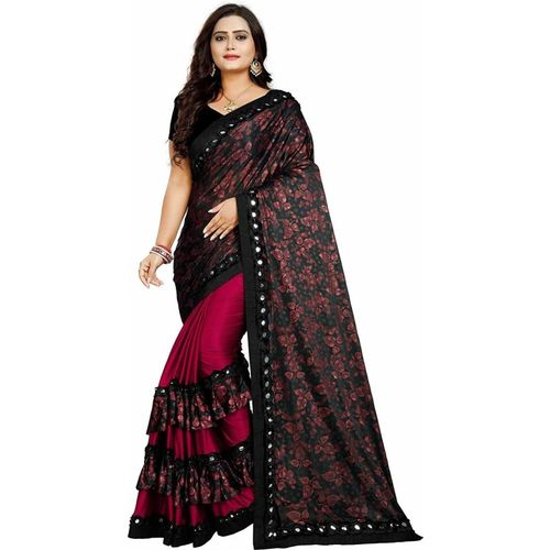 MISILY Floral Print Bollywood Lycra Blend Saree(Maroon, Black)