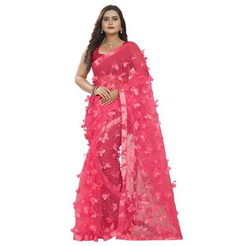 Lake Prints Self Design Bollywood Net Saree(Pink)