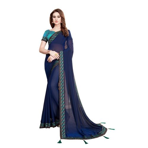 Aashvi Creation Solid Gajee Poly Georgette Saree(Dark Blue)