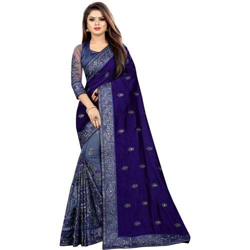 Avsar Prints Self Design, Embroidered Bollywood Net, Raw Silk Saree(Dark Blue, Grey)