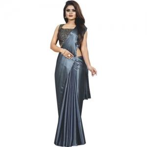 Market Magic World Solid Bollywood Satin Blend Saree(Grey)