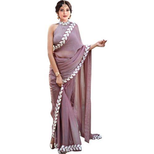 Vaidehi Fashion Embroidered Bollywood Art Silk Saree(Beige)