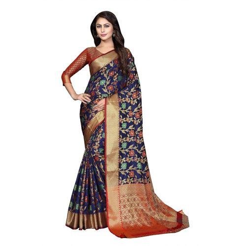 Aashvi Creation Self Design, Embroidered, Woven Kanjivaram Cotton Blend, Art Silk, Poly Silk Saree(Dark Blue)