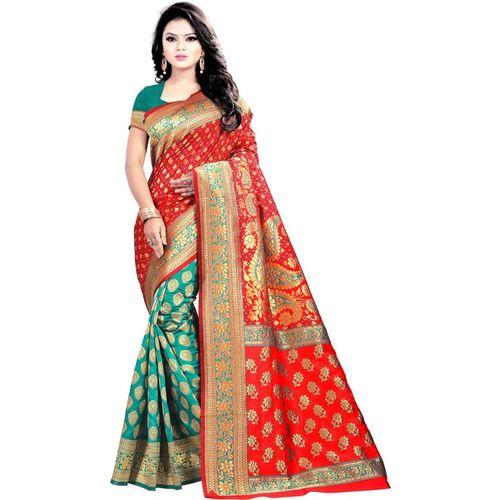 Jay fashion Woven Kanjivaram Art Silk Saree(Multicolor)