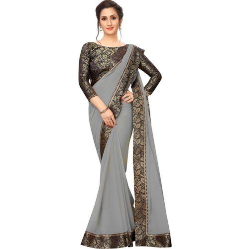 Online Bazaar Solid Bollywood Georgette, Chiffon Saree(Blue, Grey)
