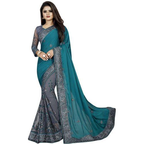 Avsar Prints Embroidered Bollywood Net, Raw Silk Saree(Dark Green, Grey)