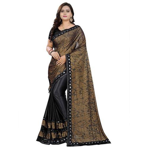 Greeva fashion Printed Bollywood Nylon Blend, Pure Silk Saree(Black)