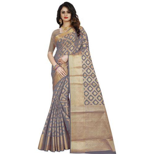 RIVANA Woven Banarasi Jacquard, Art Silk, Poly Silk Saree(Grey)