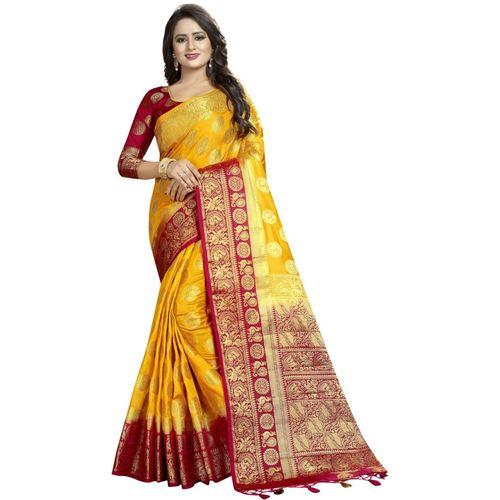 Saarah Self Design Kanjivaram Art Silk Saree(Red, Yellow)
