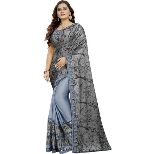 Villagius Digital Print, Color Block, Embellished, Applique, Solid Bollywood Satin Blend, Lycra Blend, Pure Silk Saree(Grey)