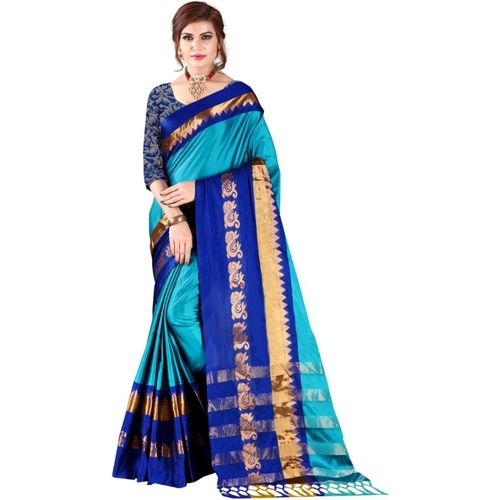 Bombey Velvat Fab Self Design, Woven Daily Wear Cotton Silk Saree(Multicolor)