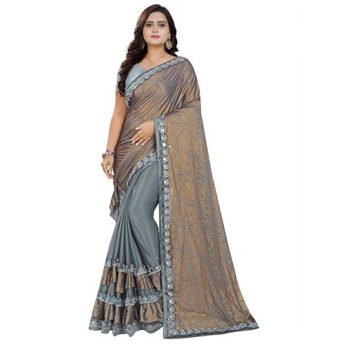 Greeva fashion Printed Bollywood Nylon Blend, Pure Silk Saree(Grey)