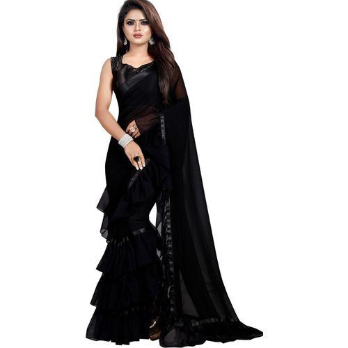 Navya Fashion Solid Fashion Georgette Saree(Black)